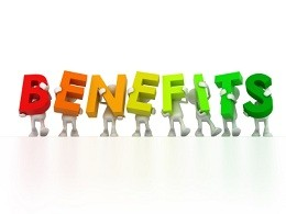 An image spelling the words benefits