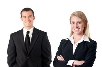 Candidates wearing job interview attire